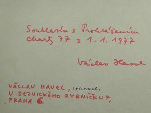 Podpis Václava Havla, jednoho z prvních signatářů Charty 77.