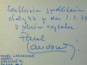 Podpis Pavla Landovského, jednoho z prvních signatářů Charty 77.