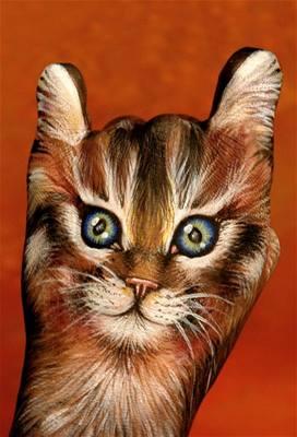 Kliknutím zobrazíte větší formát - handpainting - kočka 1